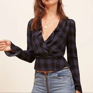 """NWT Reformation Lee Top in """"Loire."""" Size XS."""